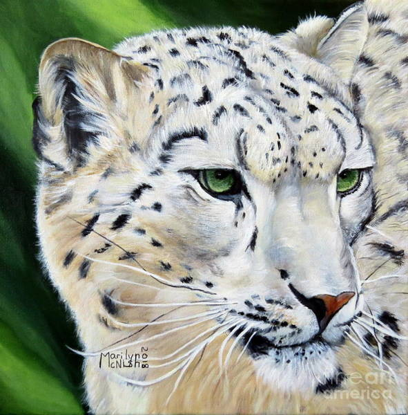 Wall Art - Painting - Snow Leopard Portrait by Marilyn McNish