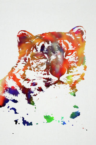 Wall Art - Mixed Media - Snow Leopard Wild Animals Of The World Watercolor Series On White Canvas 010 by Design Turnpike