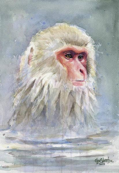 Wall Art - Painting - Snow Monkey Taking A Bath by Olga Shvartsur