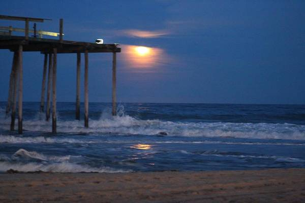 Photograph - Snow Moon At The Oc Fishing Pier by Robert Banach