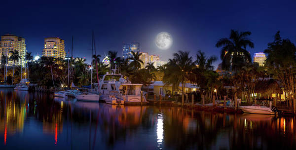 High Water Mark Photograph - Snow Moon Over Fort Lauderdale by Mark Andrew Thomas