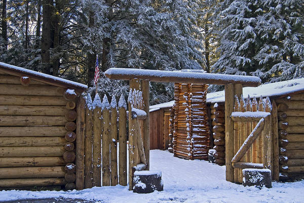 Photograph - Snow On Fort Clatsop by Robert Potts