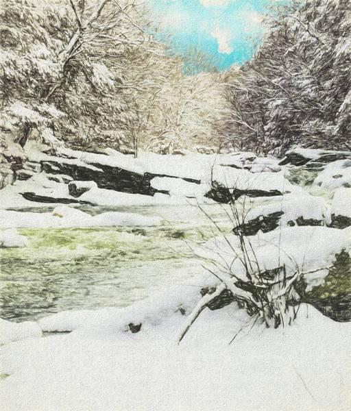 Snow On The Natchaug Art Print