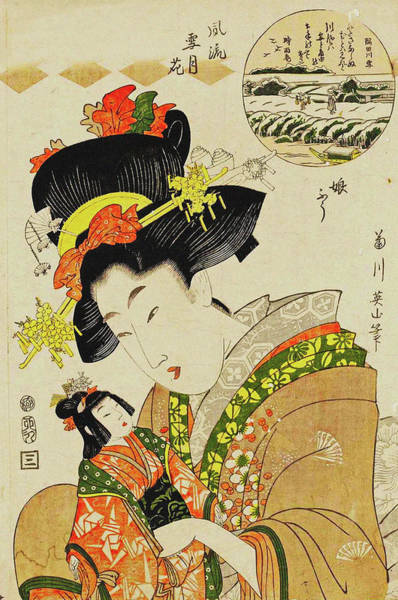 Kansai Painting - Snow On The Sumida River The Style Of A Young Girl . Fashionable Snow  Moon  And Flowers by Kikugawa Eizan