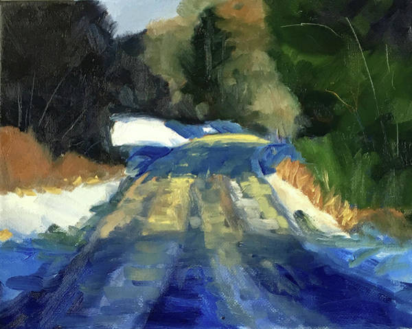 Wall Art - Painting - Snow Road by Nancy Merkle