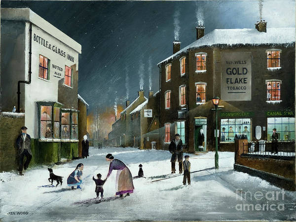 Painting - Snow Scene At The Black Country Village by Ken Wood