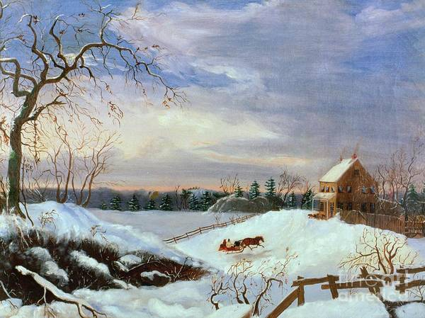 Sleigh Wall Art - Painting - Snow Scene In New England by American School