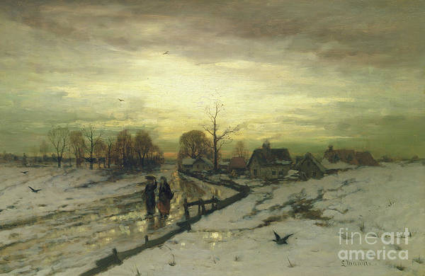 Wall Art - Painting - Snow Scene  Sunset by Ludwig Munthe