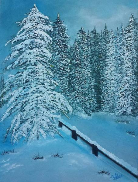 Wall Art - Painting - Snow Scenery by Judy Jones