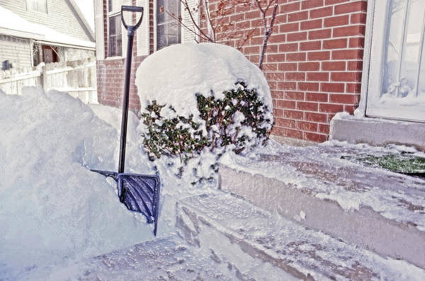 Fun Wall Art - Photograph - Snow Shovel In Snow 1 by Steve Ohlsen