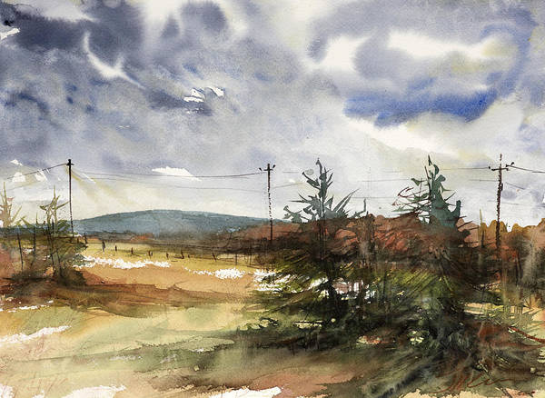 Upstate New York Painting - Snow Sky In Fall by Judith Levins