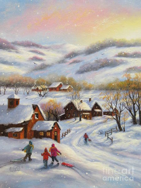 Wall Art - Painting - Snow Sledding Village by Vickie Wade