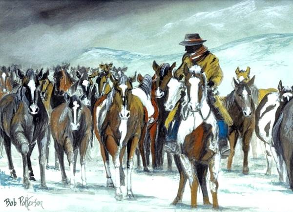Horsemanship Painting - Snow Storm A Coming by Bob Patterson
