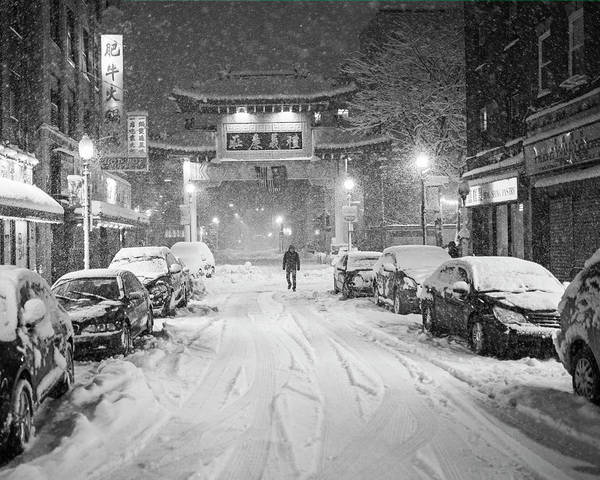 Photograph - Snow Storm In Chinatown Boston Chinatown Gate Black And White by Toby McGuire