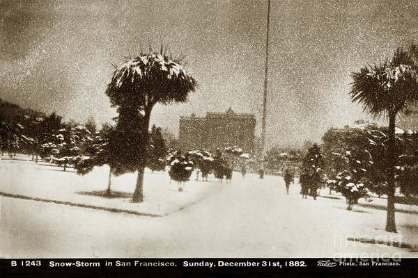 Photograph - Snow-storm In Union Square  San Francisco, Sunday, December 31st 1882 by California Views Archives Mr Pat Hathaway Archives