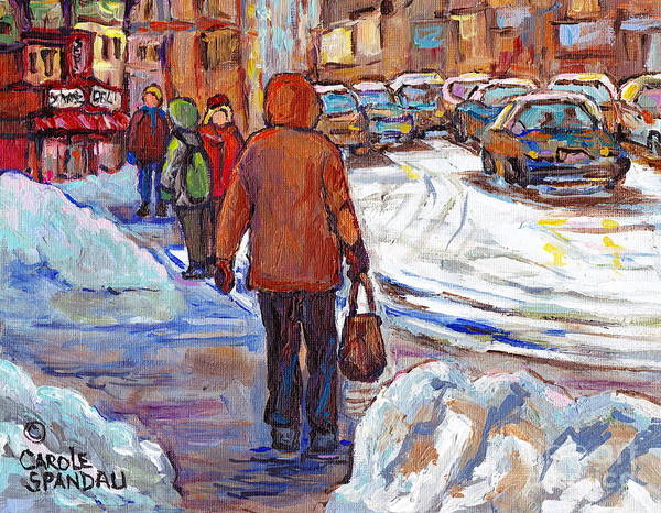 Painting - Snowbanks On St Lawrence Winter Walking To Schwartz Deli Montreal Painting C Spandau Canadian Artist by Carole Spandau
