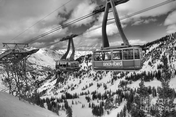 Photograph - Snowbird Tram Cars Over Cirque by Adam Jewell