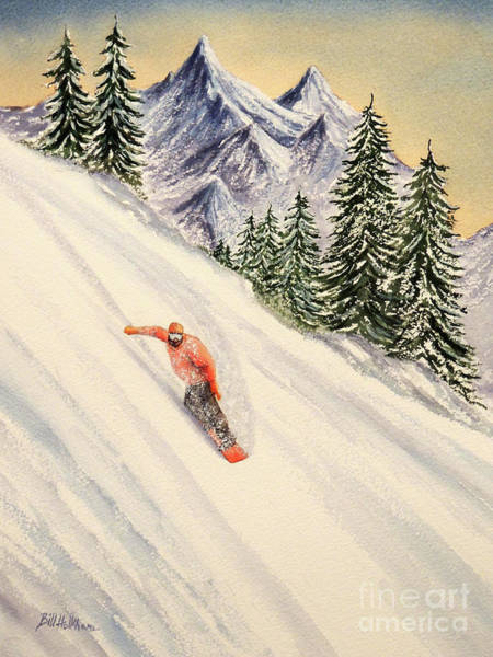 In Canada Painting - Snowboarding Free And Easy by Bill Holkham