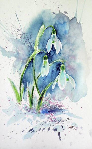 Snowdrops Wall Art - Painting - Snowdrop by Kovacs Anna Brigitta
