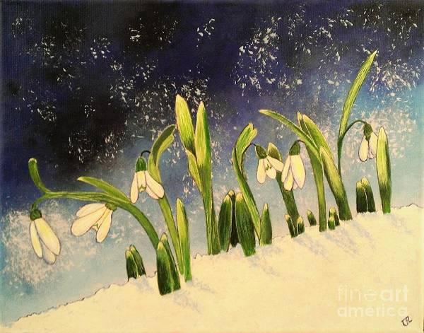 Snowdrop Painting - Snowdrop Miracles by Olga Zavgorodnya