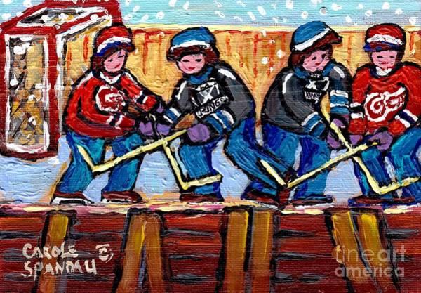 Painting - Snowfall Hockey Rink Paintings Detroit Red Wings Vs La Kings Hockey Fun Winter Art Carole Spandau by Carole Spandau