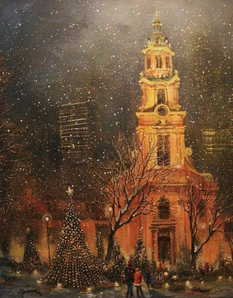 Christmas Tree Painting - Snowfall In Cathedral Square - Milwaukee by Tom Shropshire