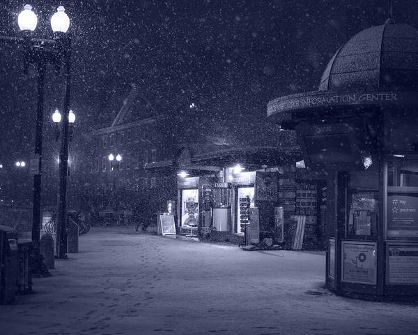 Photograph - Snowfall In Harvard Square Cambridge Ma Kiosk Monochrome Blue by Toby McGuire