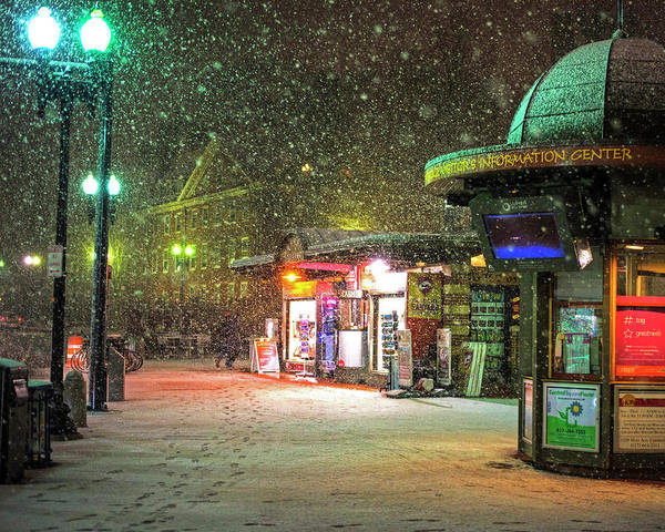 Photograph - Snowfall In Harvard Square Cambridge Ma Kiosk by Toby McGuire