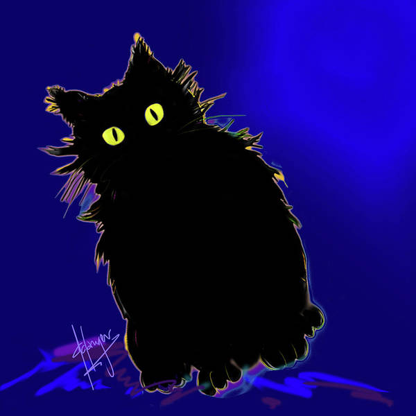 Painting - Snowflake Dizzycat On Blue by DC Langer