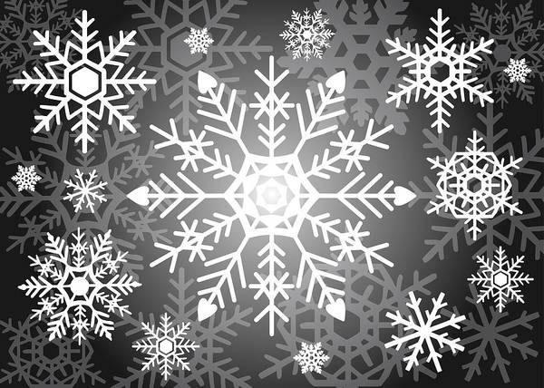 Frozen Digital Art - Snowflakes Black And White by Kathleen Wong