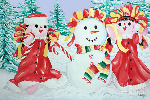 Painting - Snowgirls With Serape Scarf by Kandyce Waltensperger