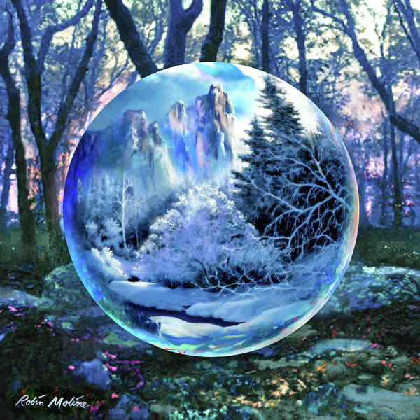 Scene Digital Art - Snowglobular by Robin Moline