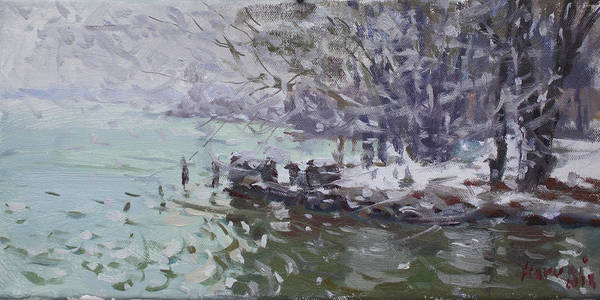 Wall Art - Painting - Snowing At Fishermens Park by Ylli Haruni