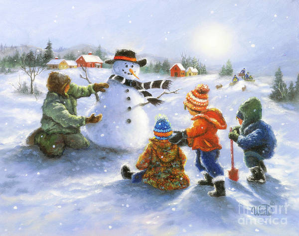 Wall Art - Painting - Snowman And Four Boys by Vickie Wade