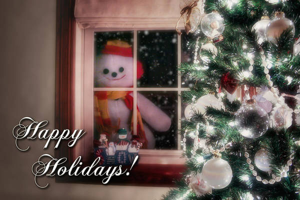 Cap Photograph - Snowman At The Window Card by Tom Mc Nemar