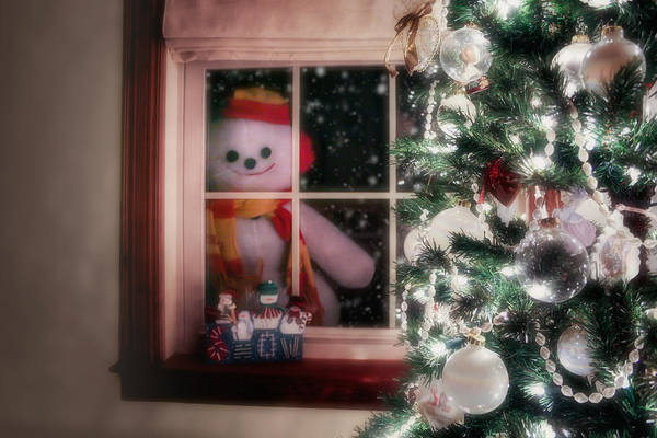 Scarf Wall Art - Photograph - Snowman At The Window by Tom Mc Nemar