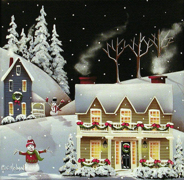 Holman Wall Art - Painting - Snowman Contest by Catherine Holman
