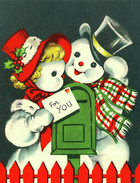 Love Letter Mixed Media - Snowman Couple With A Mail For You by Long Shot