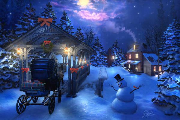 Wall Art - Painting - Snowman Crossing by Joel Payne