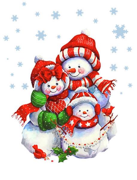 Romantic Mixed Media - Snowman Family by Long Shot