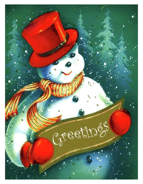 Hat Mixed Media - Snowman Holiday Greetings by Long Shot