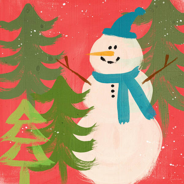 Scarf Wall Art - Painting - Snowman In Blue Hat- Art By Linda Woods by Linda Woods