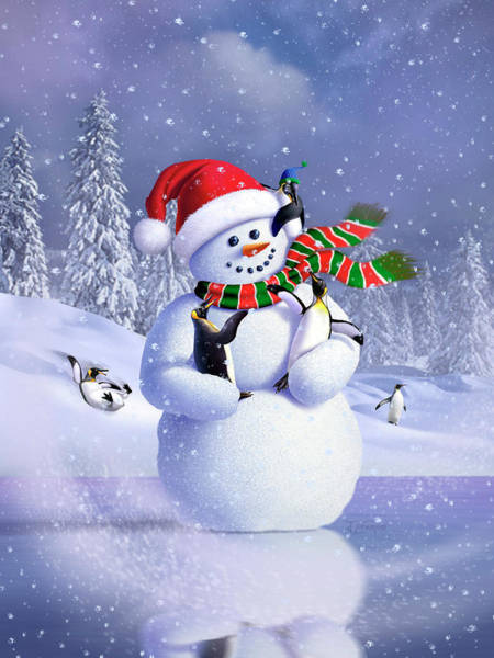 Scarf Wall Art - Digital Art - Snowman by Jerry LoFaro