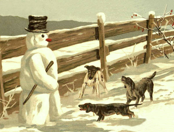 Snow Fence Digital Art - Snowman Meets Three Dogs by Long Shot