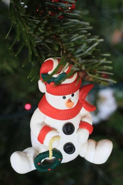 Snowman Photograph - Snowman On A Christmas Tree  by American School
