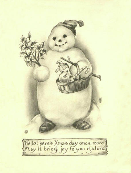 Isolated Painting - Snowman With Christmas Gifts by Long Shot