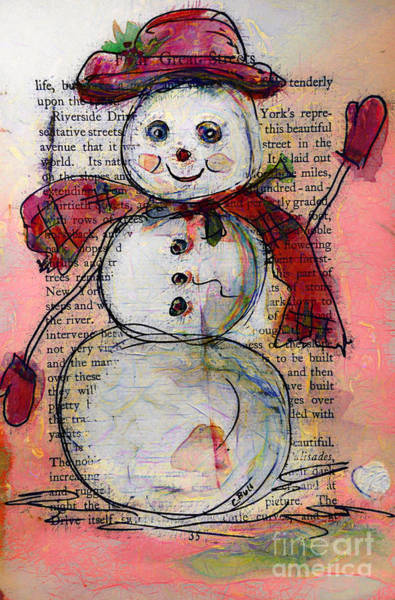 Painting - Snowman With Red Hat And Mistletoe by Claire Bull