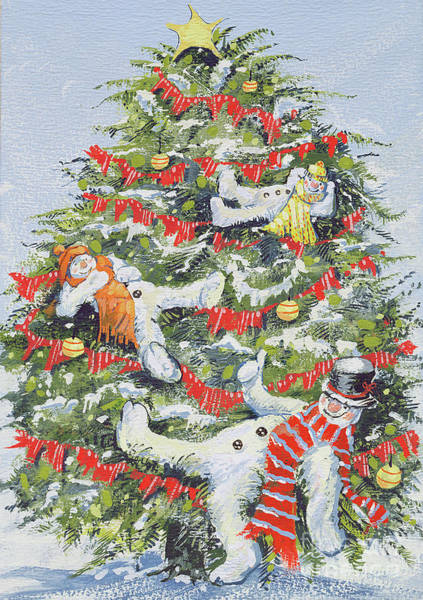 Drunk Painting - Snowmen In A Christmas Tree by David Cooke