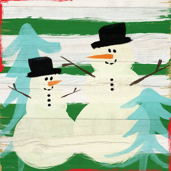 Festive Wall Art - Painting - Snowmen With Blue Trees- Art By Linda Woods by Linda Woods
