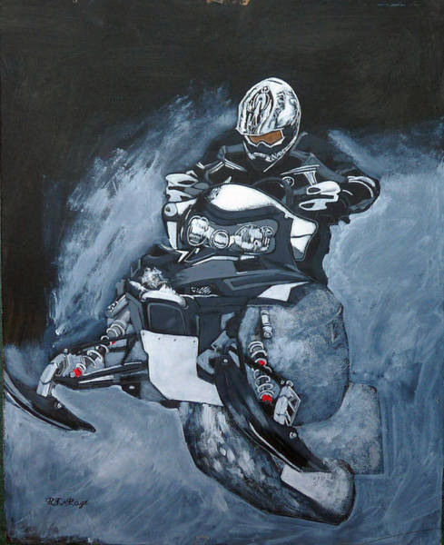 Painting - Snowmobile by Richard Le Page